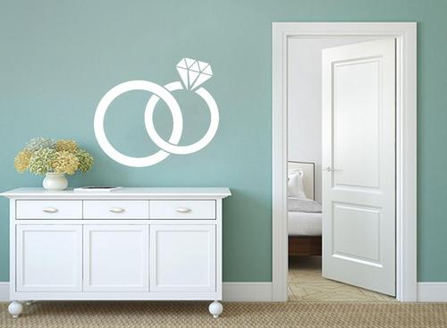 adesivo parede decorativo casal aliança anel 70x80cm