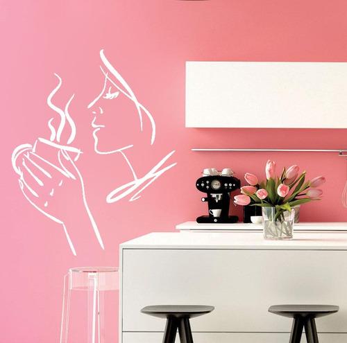adesivo parede decorativo cozinha café chá coffee 100x80cm