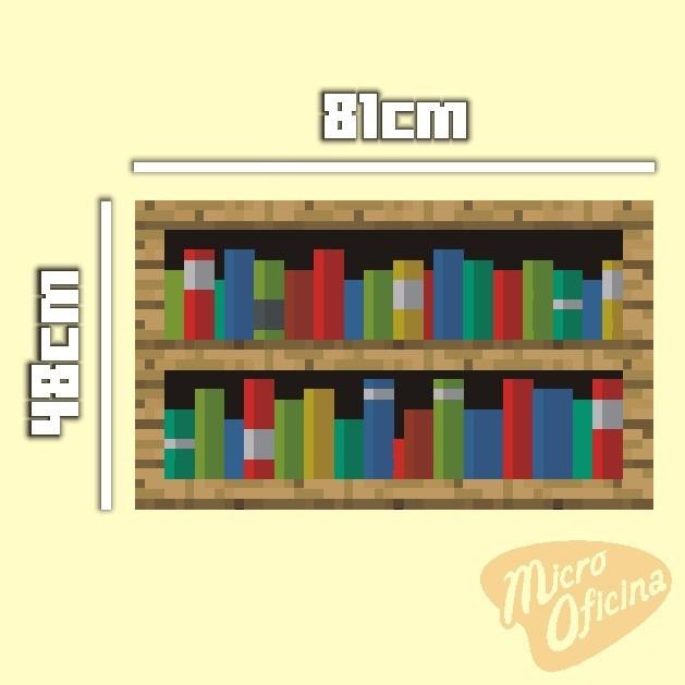 Artesanato Lider ~ Adesivo Parede Decorativo Estante Livros Tipo Minecraft R$ 29,40 em Mercado Livre