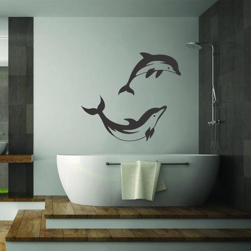 adesivo parede decorativo golfinhos mar peixe praia água
