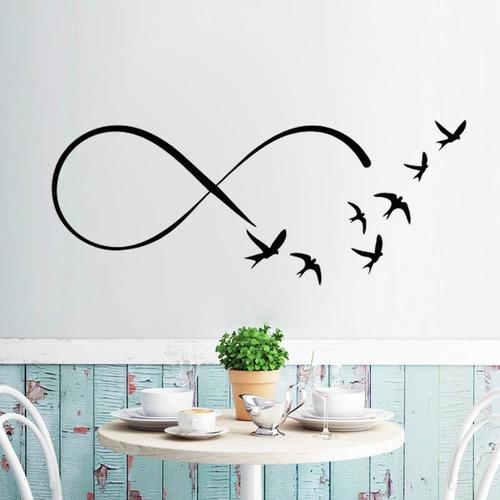 adesivo parede decorativo infinito pássaro passarinho 100x40