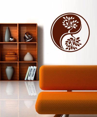 adesivo parede decorativo mandala yin yang árvore natureza