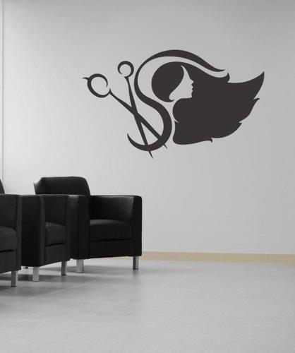 adesivo parede decorativo mulher salão tesoura cabeleireiro