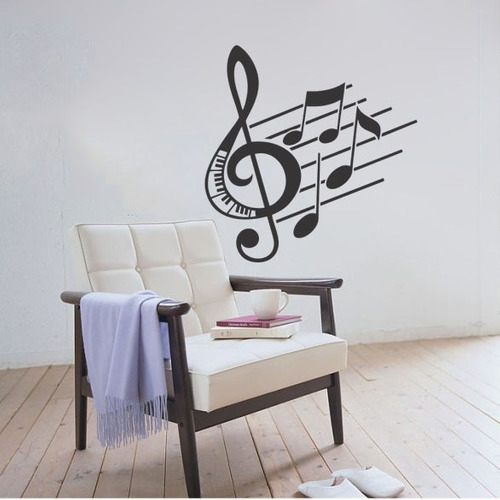 adesivo parede decorativo nota musical clave música 86x90cm