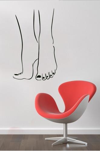 adesivo parede decorativo pés pedicure salão banheiro 90x55