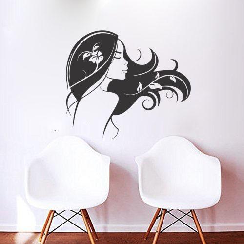 adesivo parede decorativo salão de beleza mulher cabelo flor