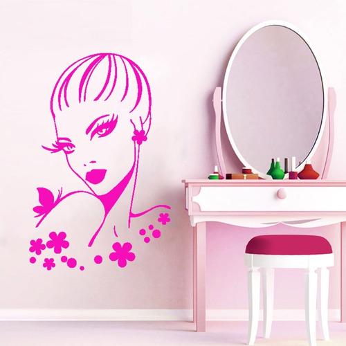 adesivo parede decorativo salão mulher quarto flor 100x65cm