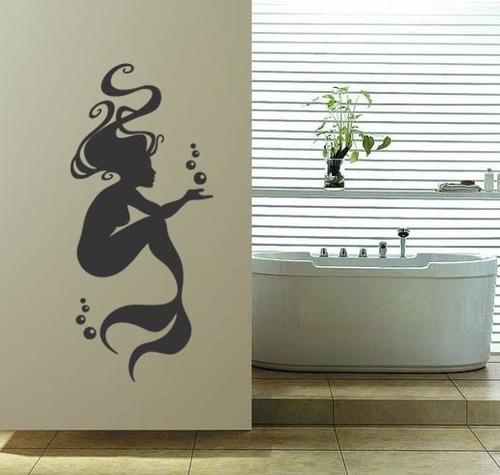 adesivo parede decorativo sereia mar oceano mulher 100x45cm