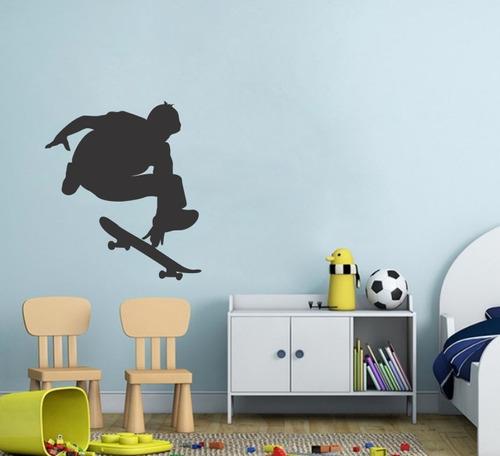 adesivo parede decorativo skate menino skatista rodas 80x70