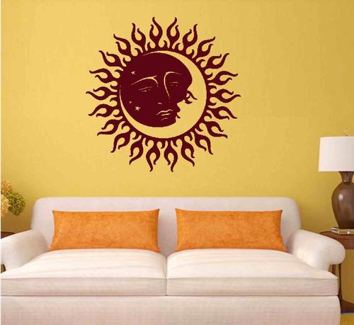 adesivo parede decorativo sol lua mandala céu 60x60 cm