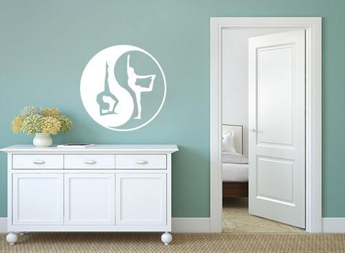 adesivo parede decorativo yin yang meditação yoga 80x80cm