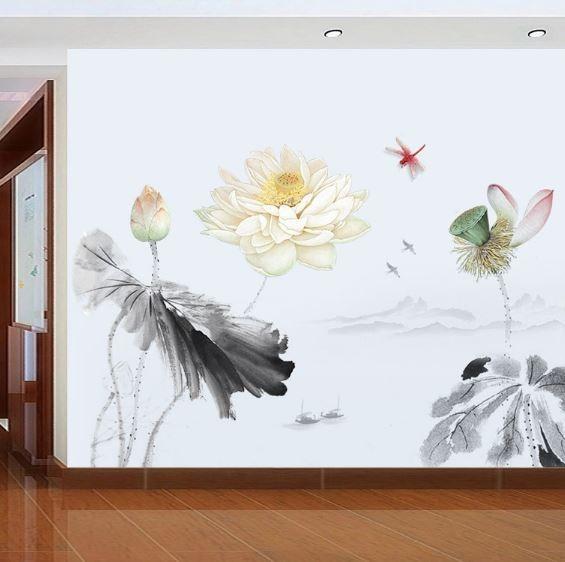 Adesivo Parede Flor Lotus Estilo Chines Salas Quartos R 126