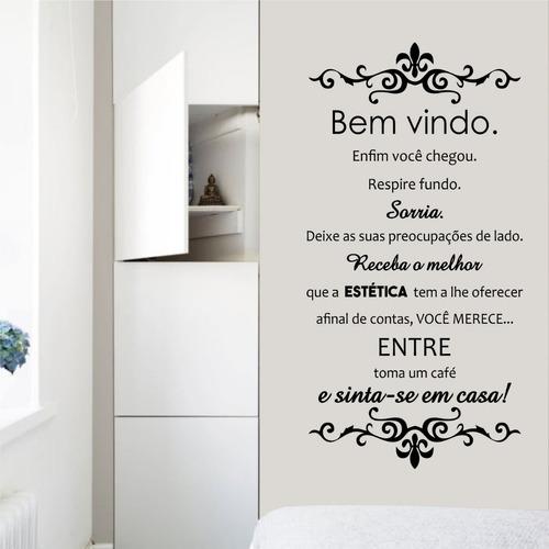 adesivo parede frase bem vindo receba o melhor da estética