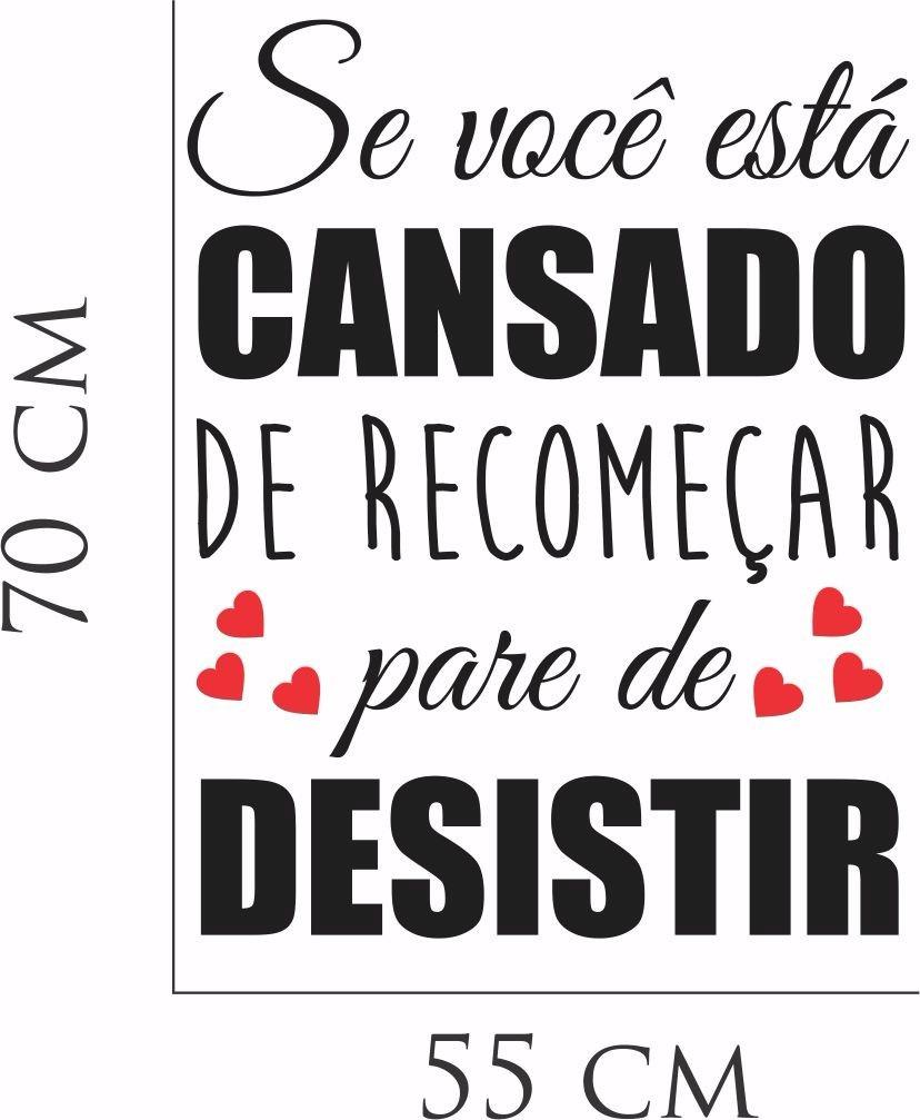 Adesivo Parede Frase Coração Pare De Desistir Sucesso Amor R 29