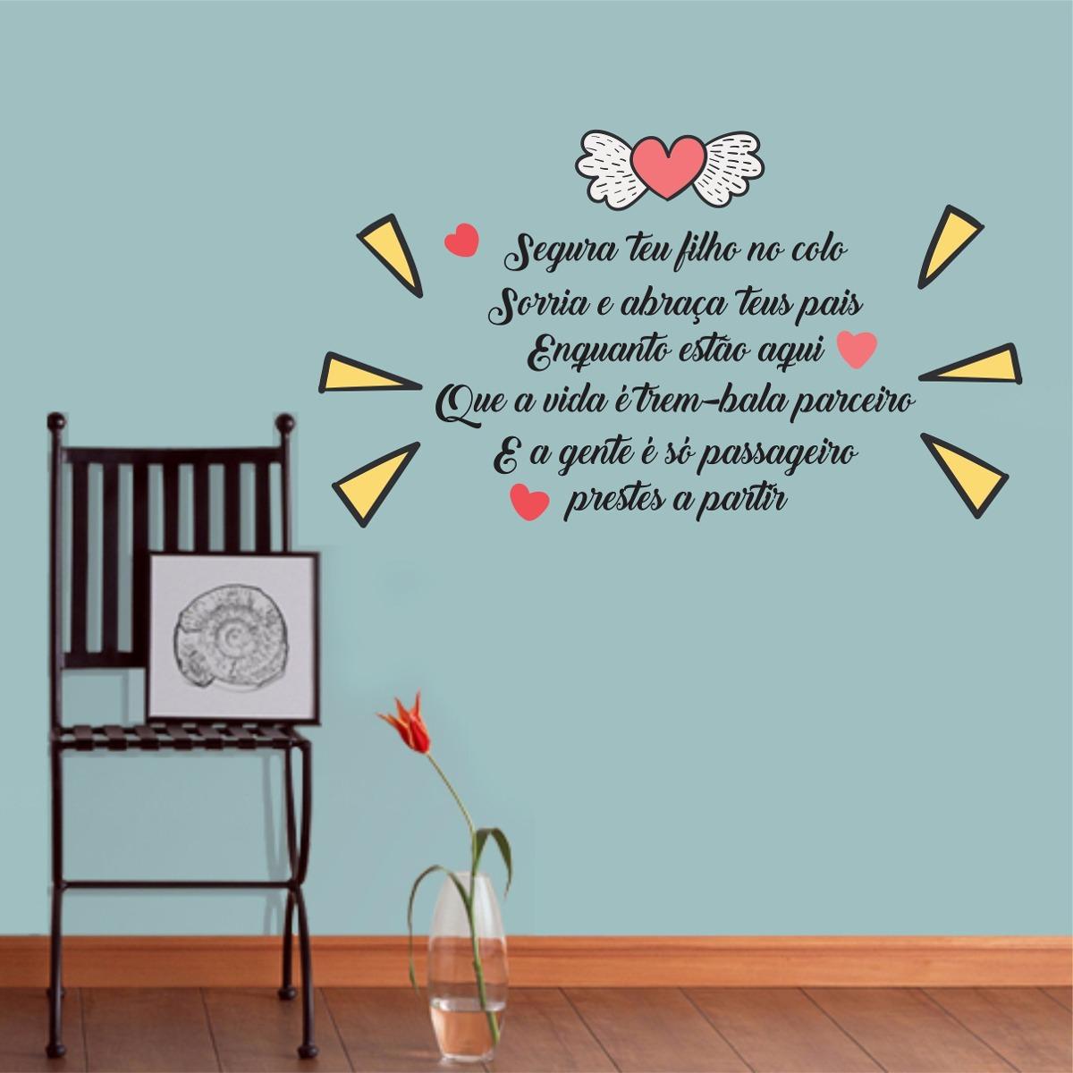 Adesivo Parede Frase Coração Trem Bala Música Filho Amor R 4990