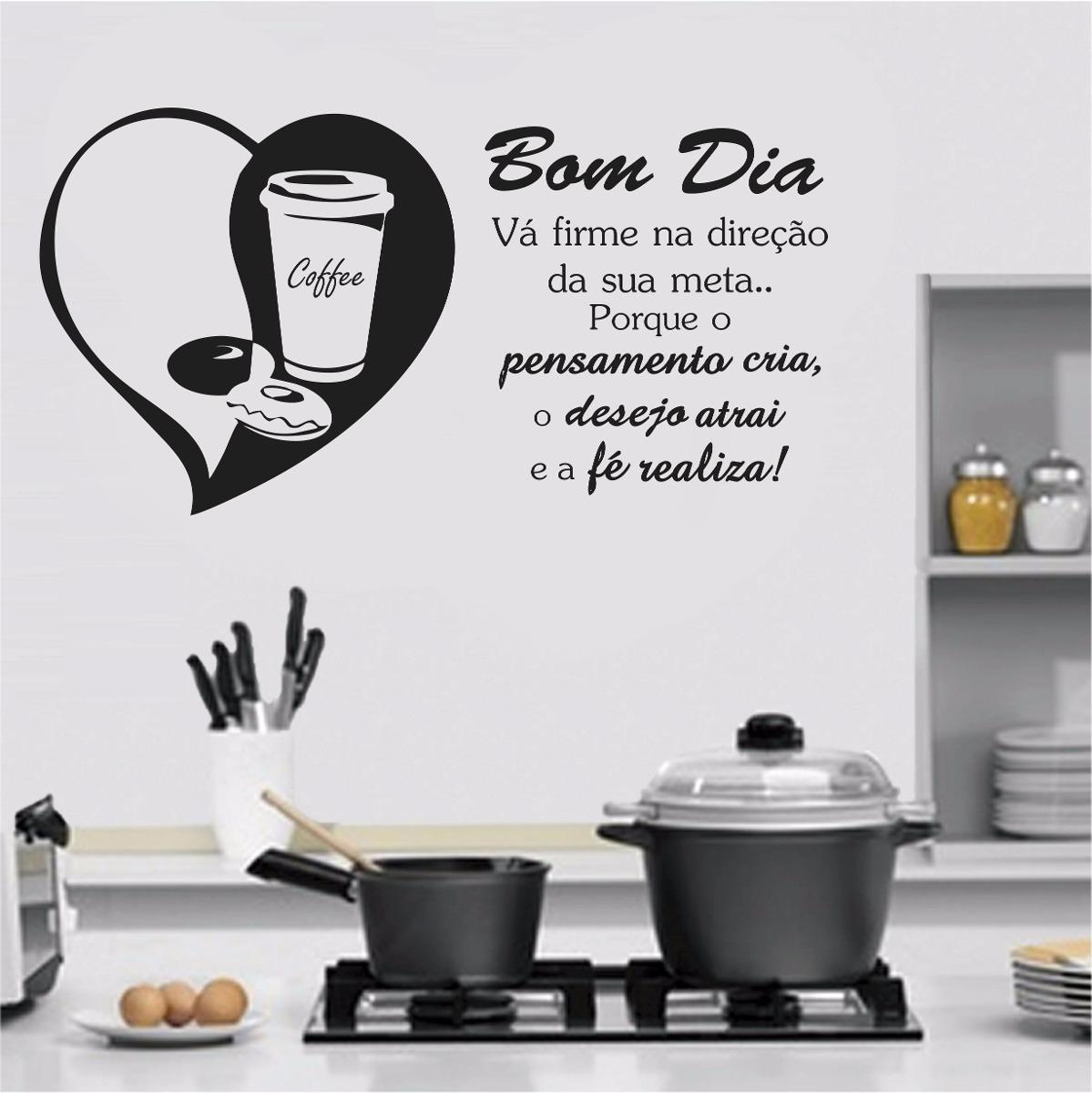 Adesivo Parede Frase Cozinha Café Xícara Bom Dia Acorde Fé R 43