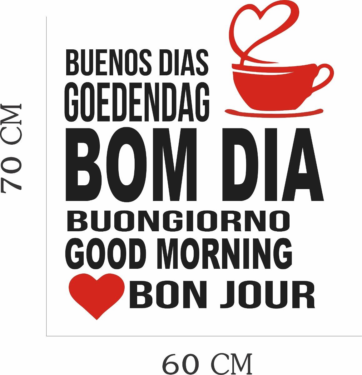 Adesivo Parede Frase Cozinha Café Xícara Bom Dia Buenos Dias R 39