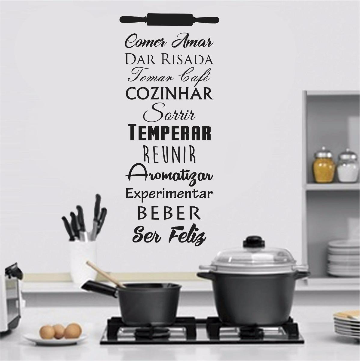 Adesivo Parede Frase Cozinhar Comer Amar Sorrir Café Feliz R 58