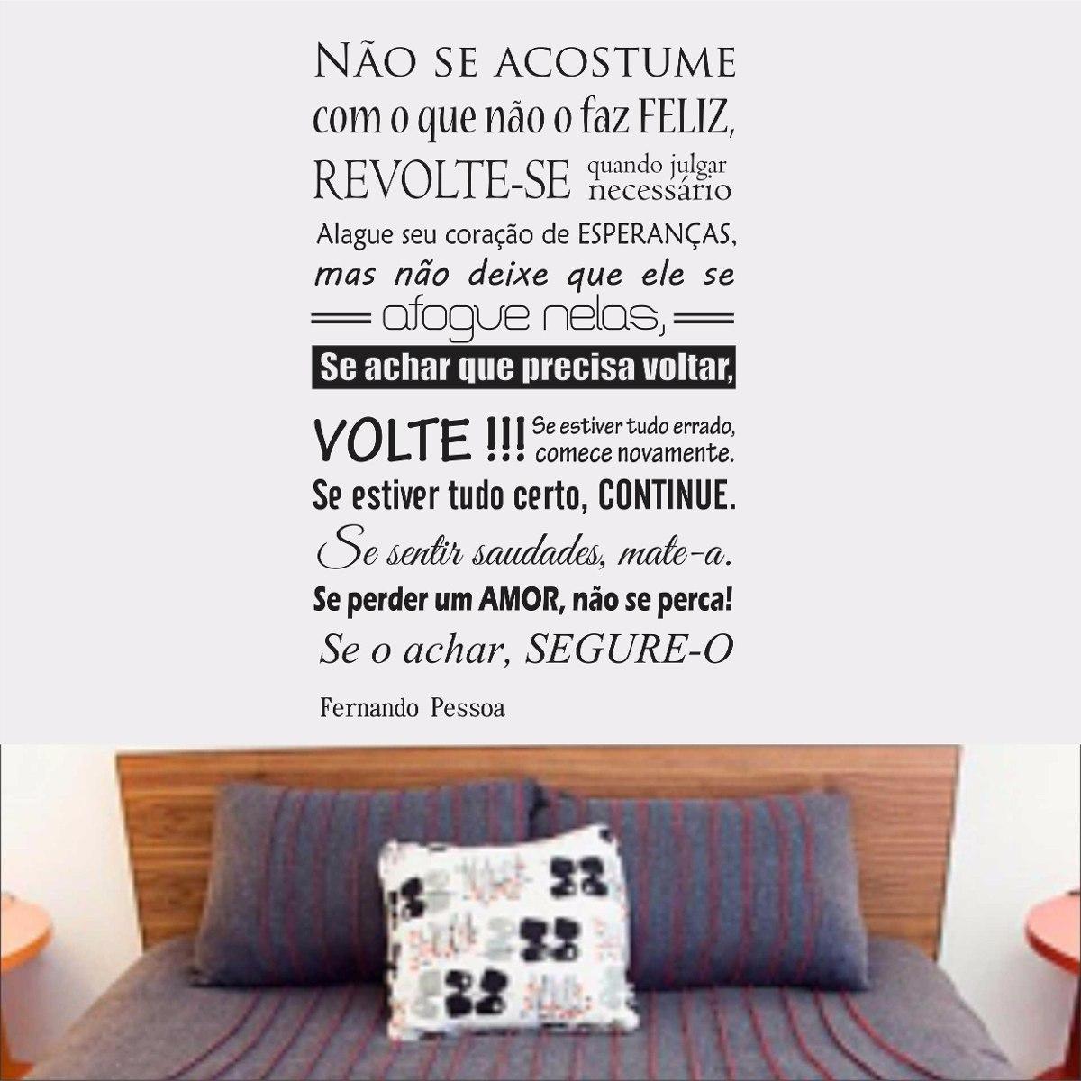 Adesivo Parede Frase Fernando Pessoa Pensamento Felicidade R 48