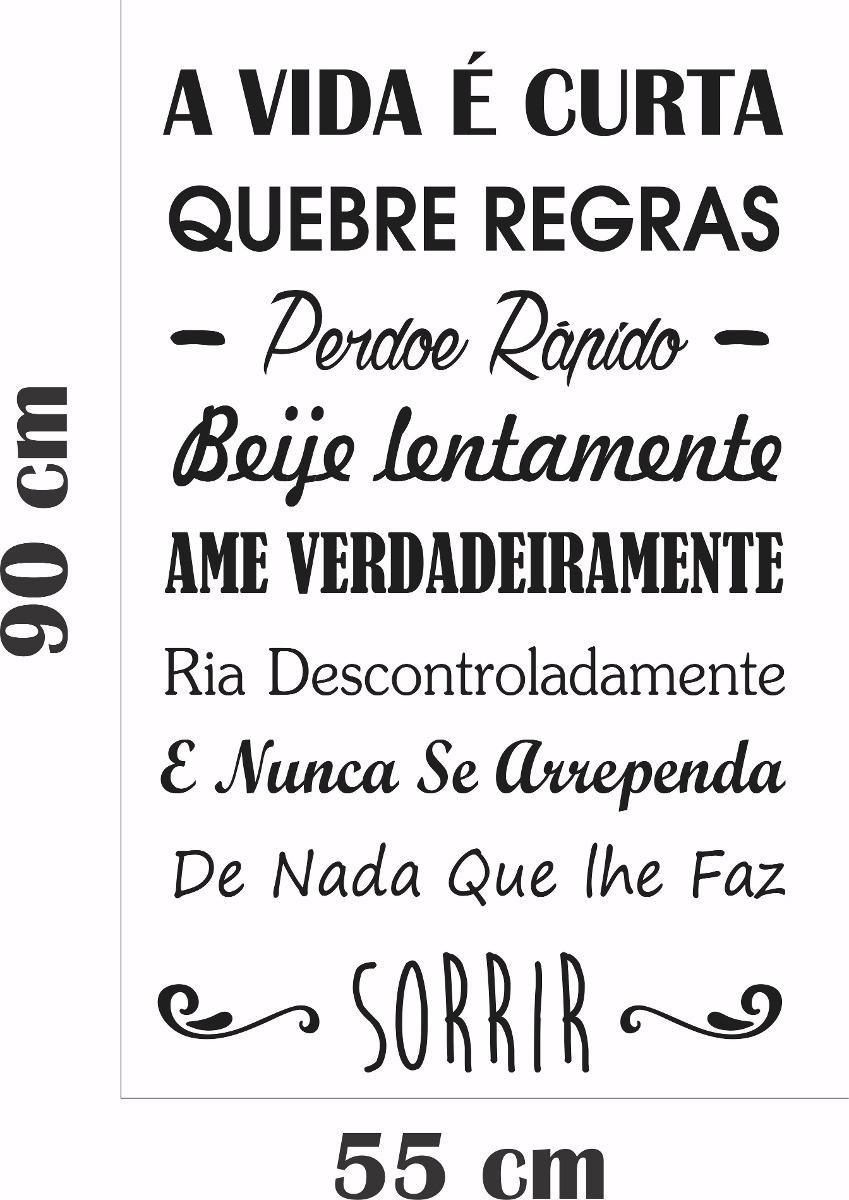 Adesivo Parede Frase Pensamentos A Vida é Curta Beije Sorrir R 39
