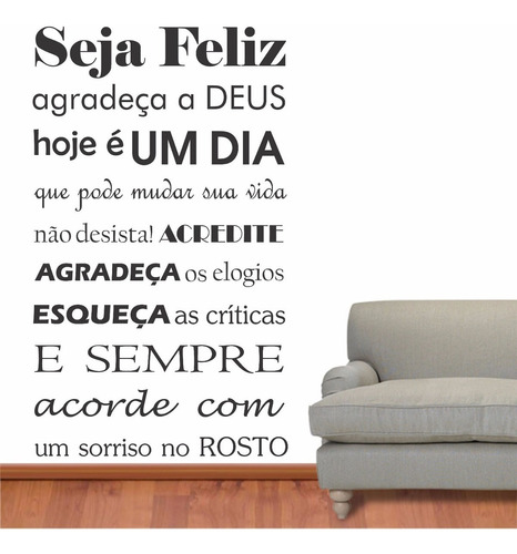 adesivo parede frase seja feliz família agradeça palavra
