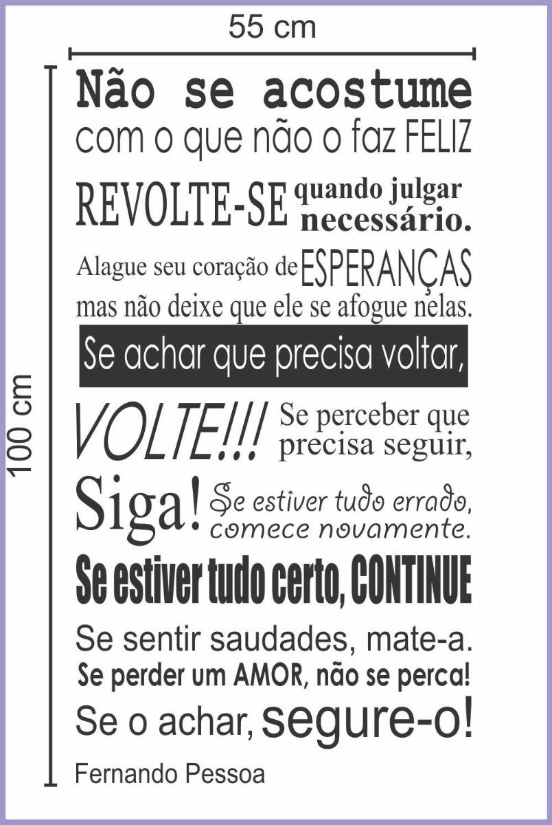 Adesivo Parede Frase Texto Fernando Pessoa O Amor Lançamento R 74