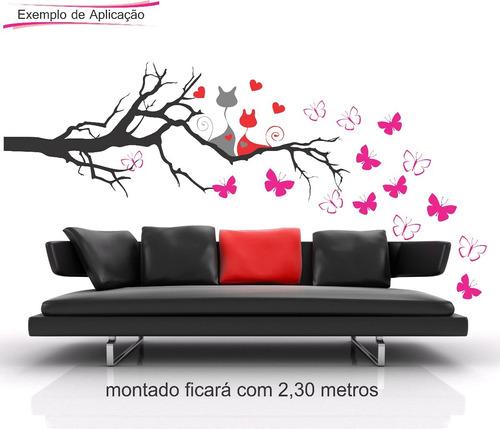 adesivo parede galho gato folha gigante 2,30 metros coração