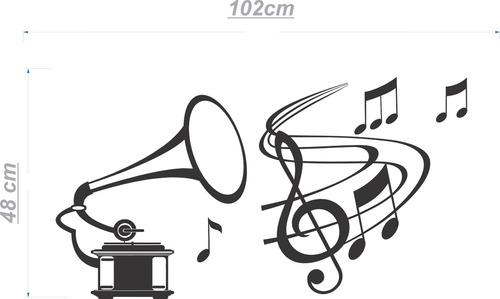 adesivo parede gramofone clave nota música sala 1,5 metro