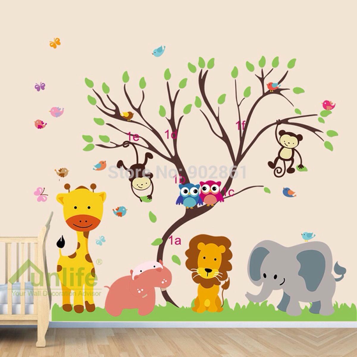 Aparador Estreito Para Sala ~ Adesivo De Parede Infantil Animais Na Selva R$ 149,00