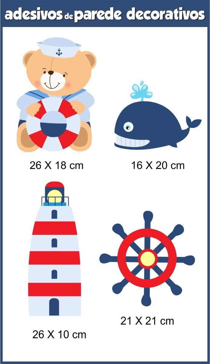 Aparador Ferro Com Vidro ~ Adesivo Parede Ursinho Urso Marinheiro Infantil R$ 46,66 em Mercado Livre