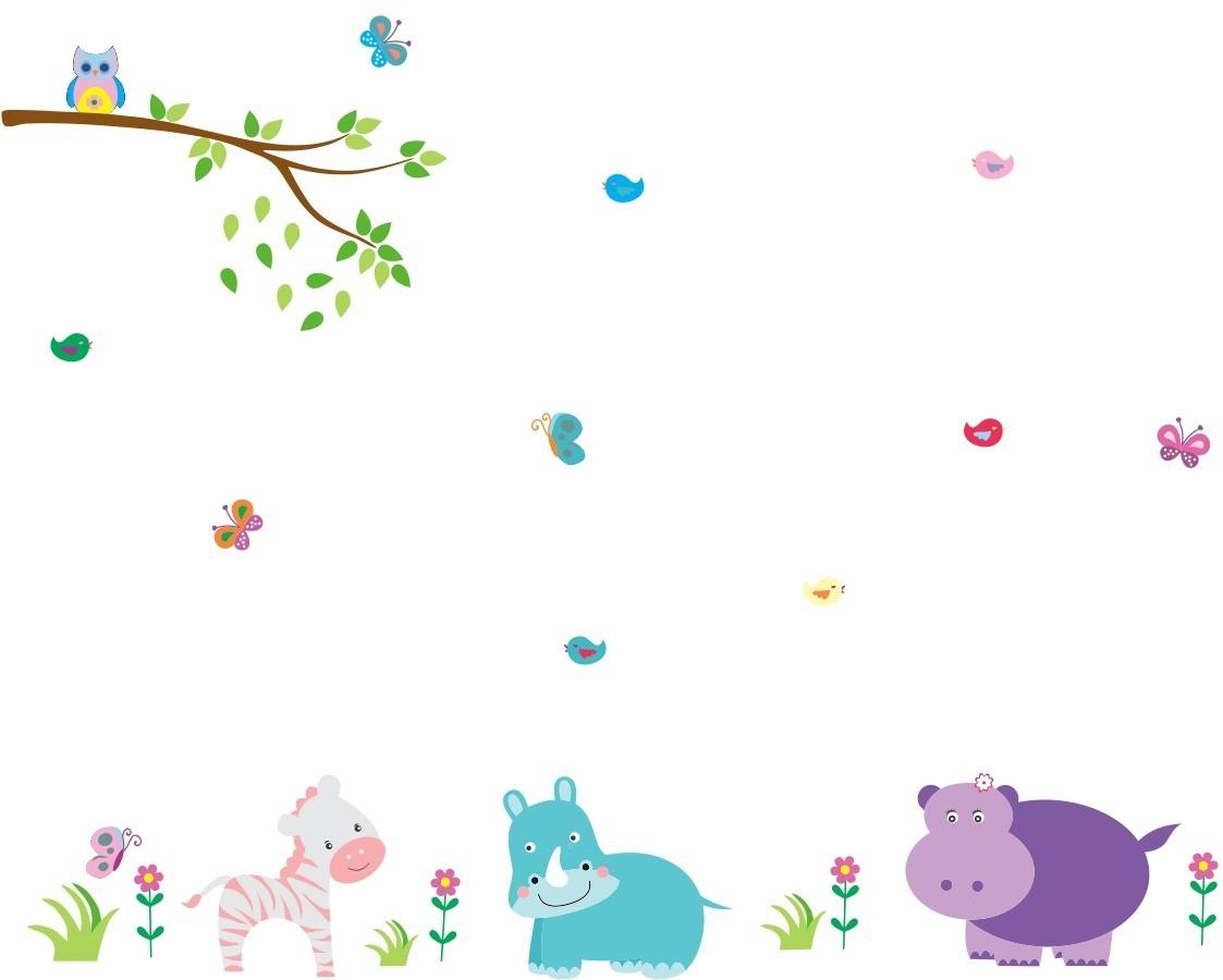 Aparador Wengue ~ Adesivo De Parede Infantil Zoo Safari Bichinhos Coruja R$ 85,90 em Mercado Livre