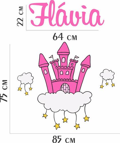 adesivo parede infantil quarto menina castelo princesa+nome