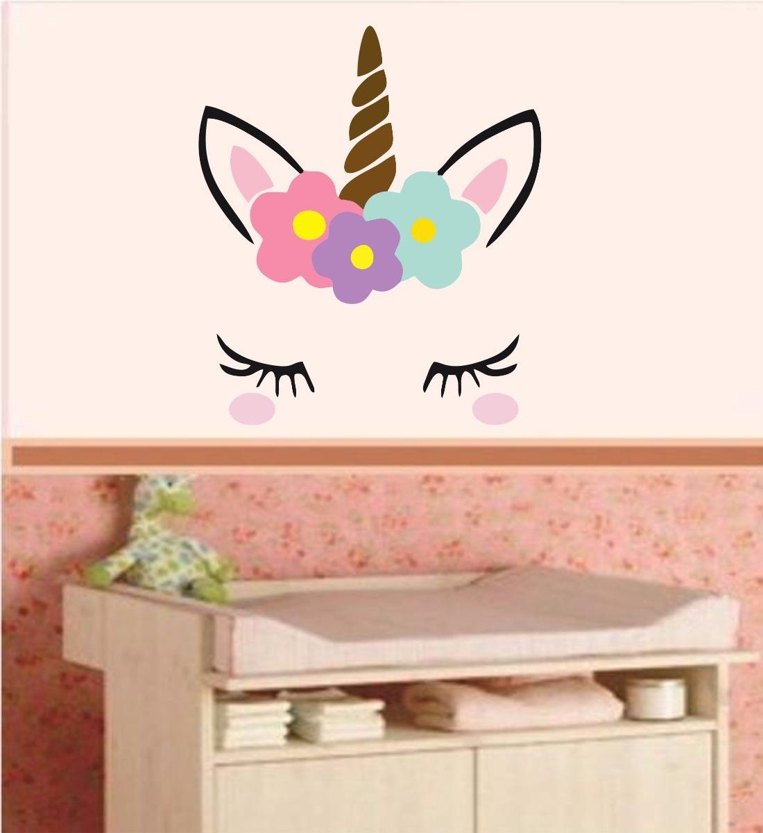 Adesivo De Parede Arvore Infantil ~ Adesivo Parede Infantil Unicórnio Cabeça Olhos Floral Flor R$ 69,99 em Mercado Livre