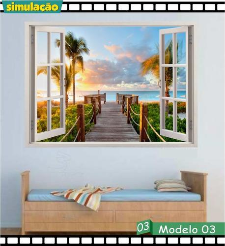 adesivo parede janela paisagem 3d natureza decorativo praia