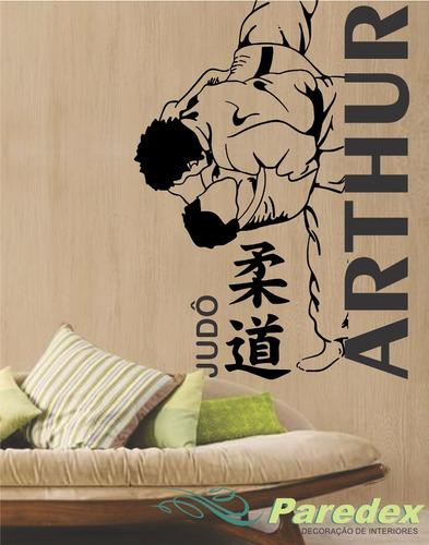 adesivo parede judo personalizado com seu nome 1,38 metro