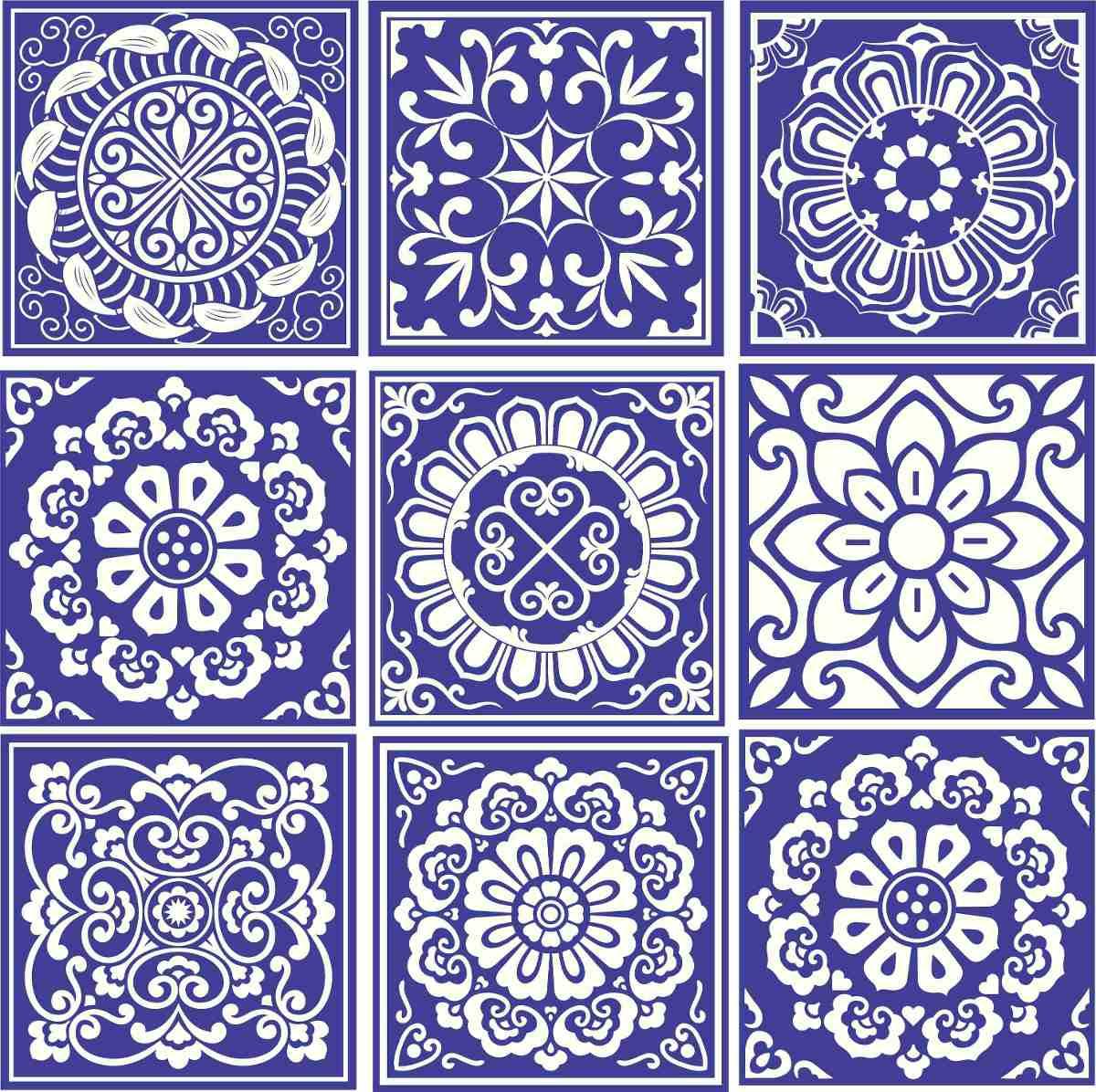 Adesivo Parede Ladrilho Faixa Azulejo Português Kit 9 Un R$ 29 99  #3A3299 1200x1196 Banheiro Azulejo Portugues