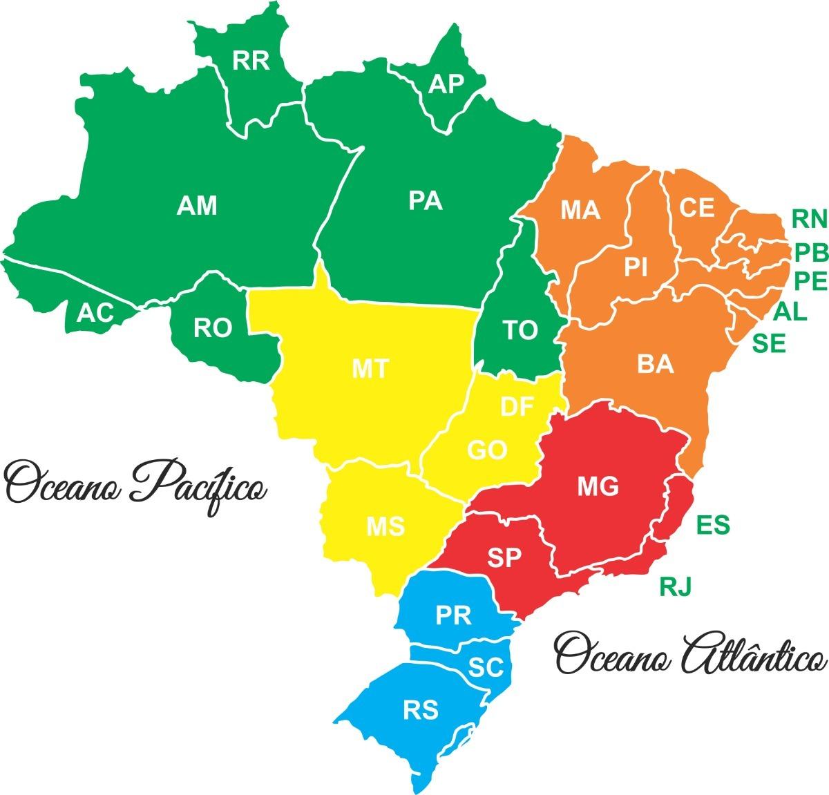 Adesivo Parede Mapa Brasil Estado Mapa 1,60 Metro Decoração - R ...