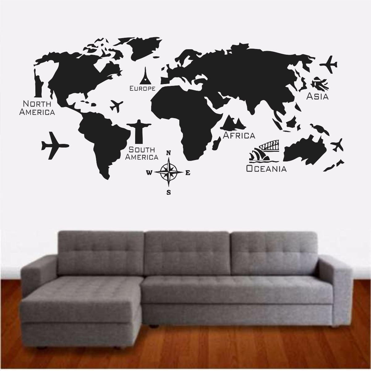 Adesivo De Parede Espelhado ~ Adesivo Parede Mapa Mundi Continentes Viagem Europa Asia