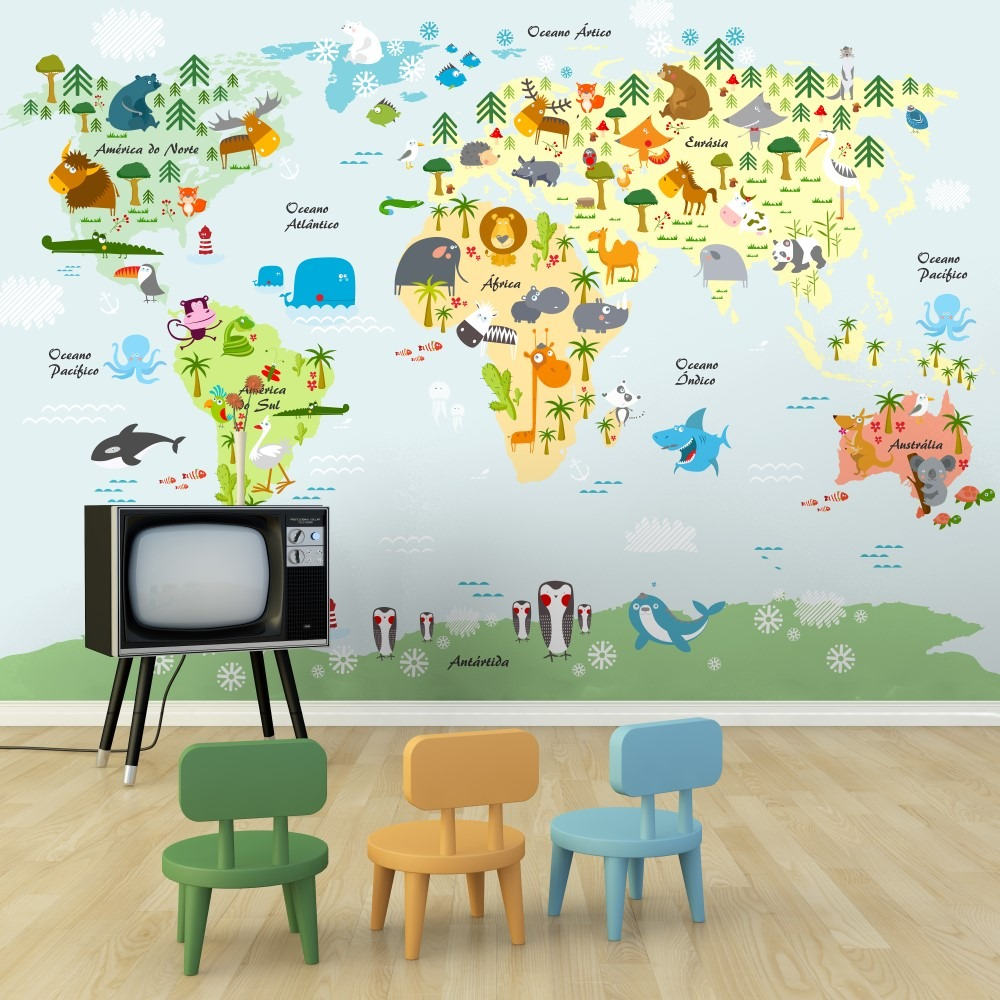 Adesivo De Parede Espelhado ~ Adesivo Parede Mapa Mundi Painel Infantil Animais Vinílico