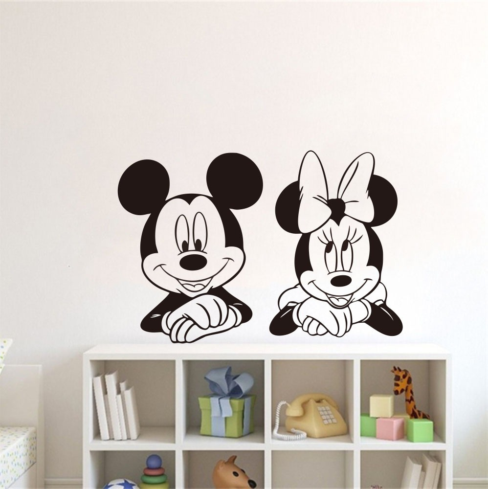 adesivo parede mickey minnie mouse cabeceira disney. Black Bedroom Furniture Sets. Home Design Ideas