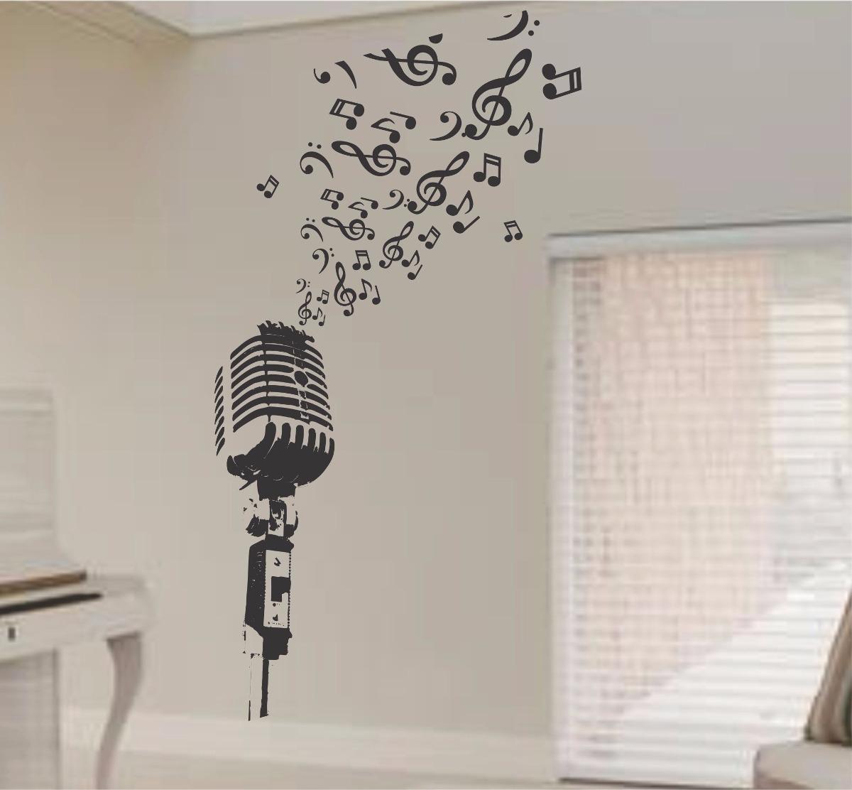 Adesivo Parede Microfone Notas Musicais Clave Sol 2 Metros