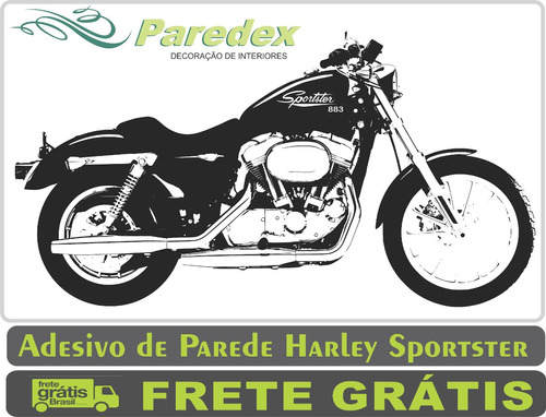 adesivo parede moto harley sportster 1,80 metro sala quarto
