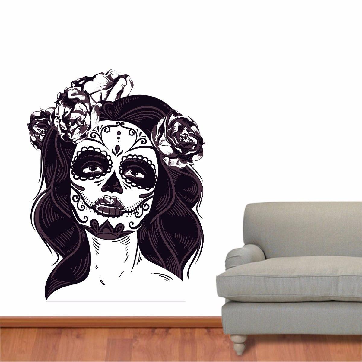 Artesanato Zezinha ~ Adesivo Parede Mulher Caveira Mexicana Tatuagem Flor Zumbi