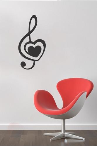adesivo parede música nota musical música clave de sol 40x80