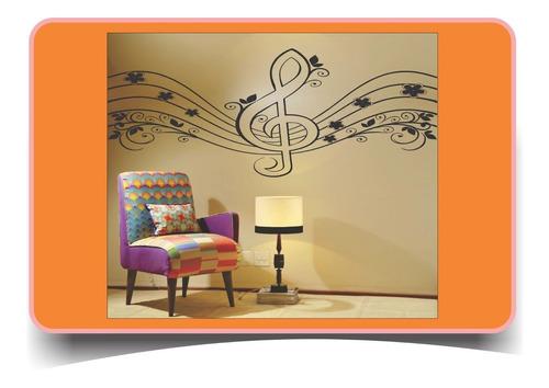 adesivo parede nota musical clave 1,50 metro sala música