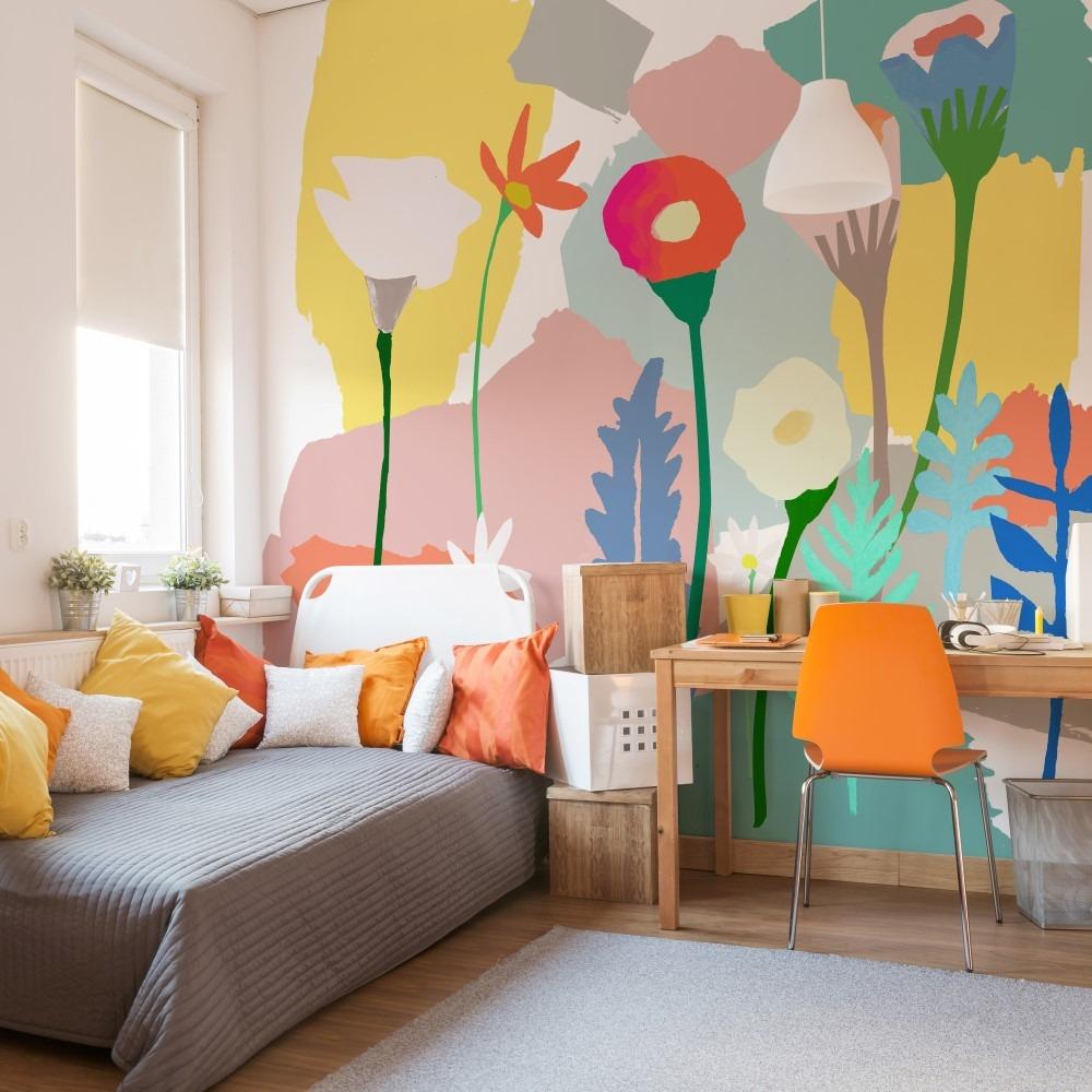 Adesivo parede painel pintura aquarela flores vin lico - Papel de pared para pintar ...