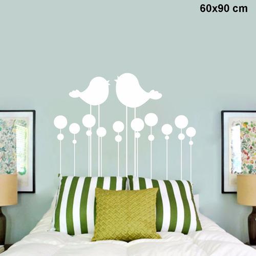 adesivo parede para cabeceira cama quarto solteiro pássaros