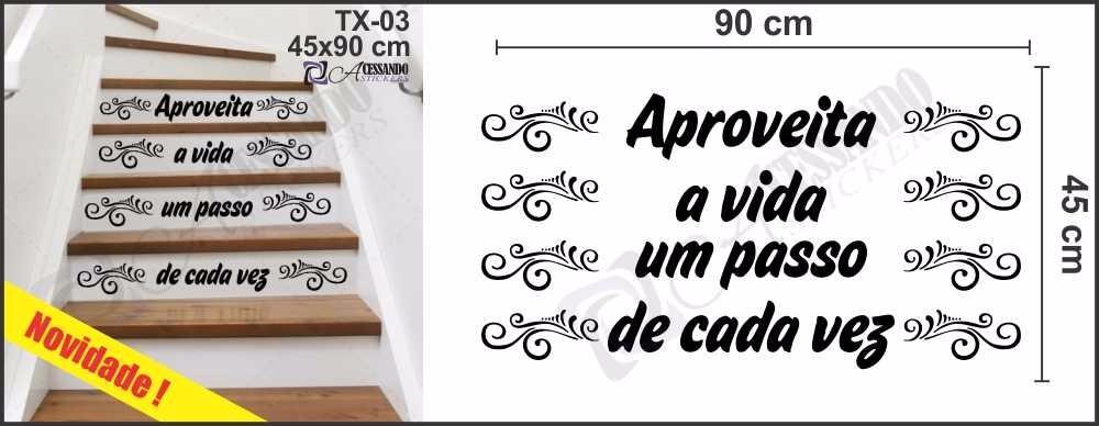 Adesivo Parede Para Escada Aproveite A Vida Promoção Frase R 49