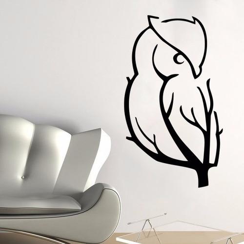 adesivo parede pássaro galho árvore coruja natureza animal