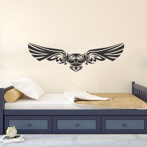 adesivo parede pássaro tribal árvore coruja animal 80x25cm